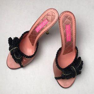 Betsey Johnson Stilettos Black Bow Rhinestones